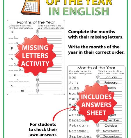 English Months of the Year - Missing letters and month order activity - ESL Resource.