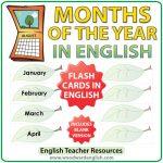 English Months of the Year - ESL Flash Cards - Leaf Design