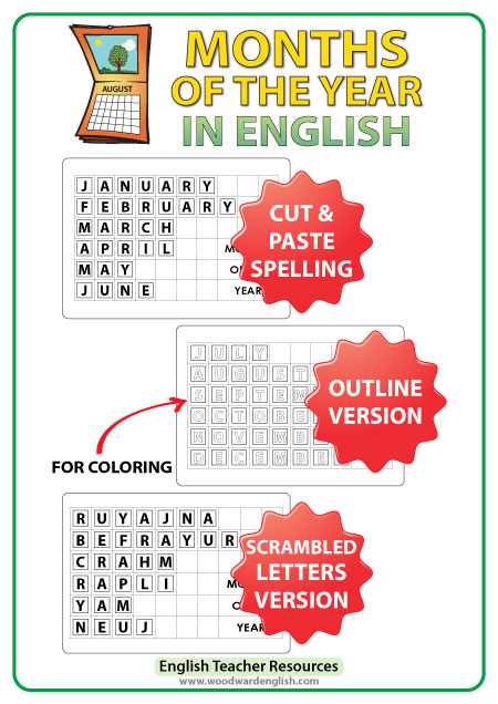 English Months - Cut and Paste Spelling Activity - ESL Resource