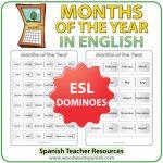 Months in English - Dominoes - ESL/EFL Teacher Resource