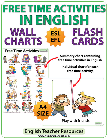 Marvelous Free Time Activities In English   ESL Chart / Flash Cards