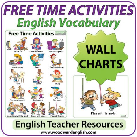 Free Time Activities in English - ESL Chart / Flash Cards