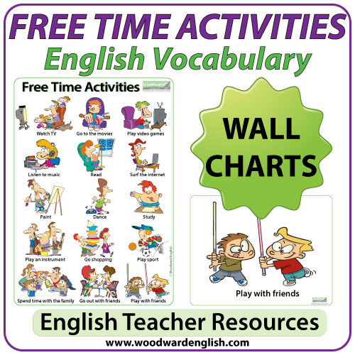 Free Time Activities In English   ESL Chart / Flash Cards