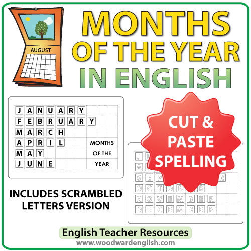 Months of the year in English - Cut and Paste Spelling Activity - ESL Resource