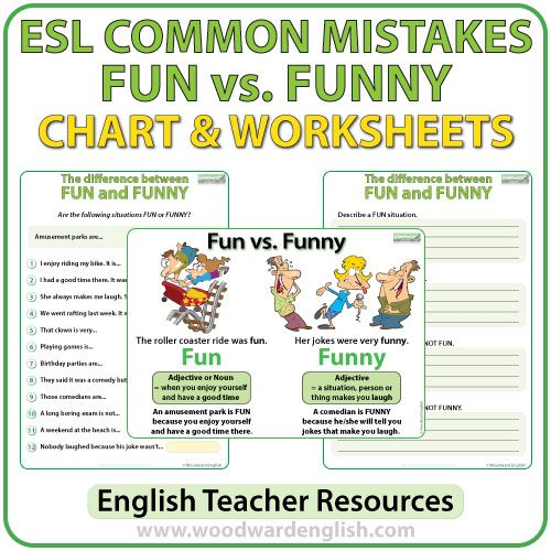 Difference between FUN and FUNNY summary chart and worksheet - ESL Common Mistakes
