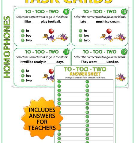 Homophones Task Cards - TO, TOO, TWO - English Teacher Resources