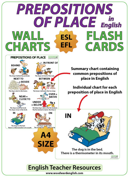 Prepositions of Place in English - ESL Chart and Flash Cards for English teachers