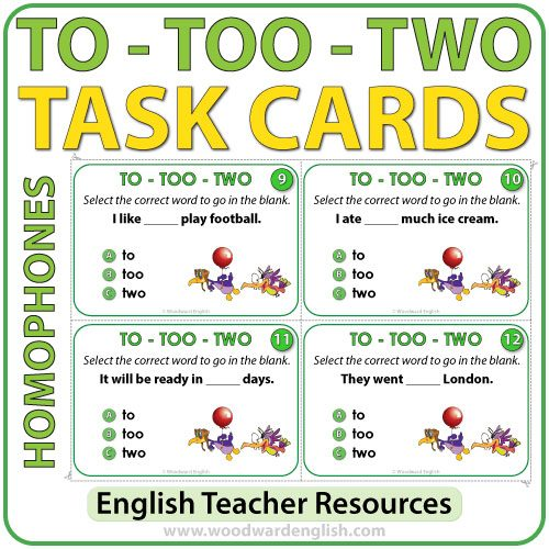 TO, TOO, TWO - Task Cards - ELA Resources