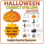 Spelling activity with vocabulary associated with Halloween in English.