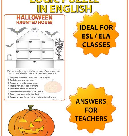 English Halloween Logic Puzzle ideal for ESL / ELA classrooms