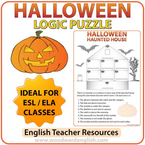 Logic Puzzle about Halloween in English. There is a haunted house with 8 rooms. Students need to discover which monsters are in each room.