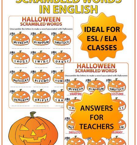 Halloween in English Scrambled Words Worksheet