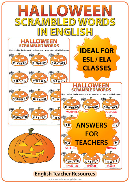 Halloween in English Scrambled Words Worksheet