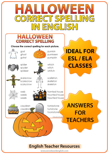 English Halloween vocabulary spelling worksheet.