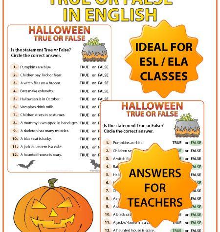 English Halloween True or False Worksheet - ESL Teacher Resources