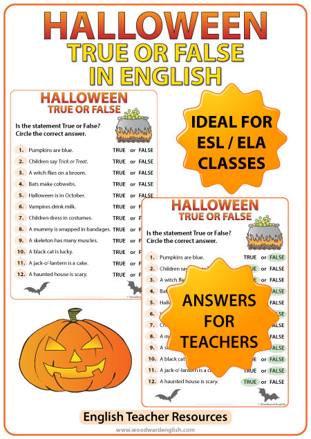 English Halloween True or False Worksheet - ESL Teacher Resources