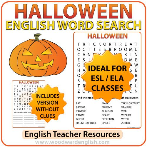 Halloween English Word Search - ESL Teacher Resources