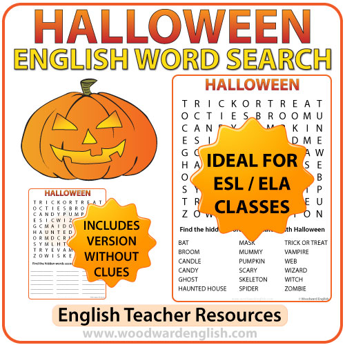 Halloween Word Search in English | Woodward English