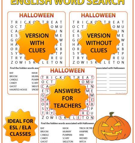 Halloween ESL Word Search - English Teacher Resources