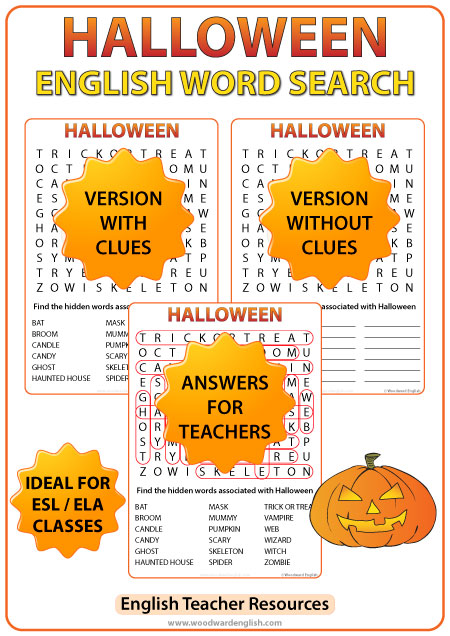 Halloween ESL Word Search - English Teacher Resources