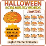 Halloween Scrambled Words in English Worksheet.