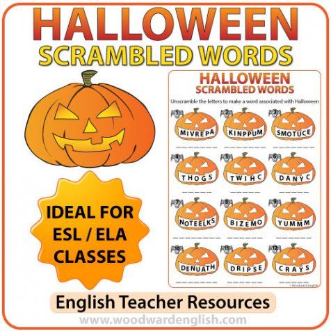 Halloween Scrambled Words in English Worksheet.