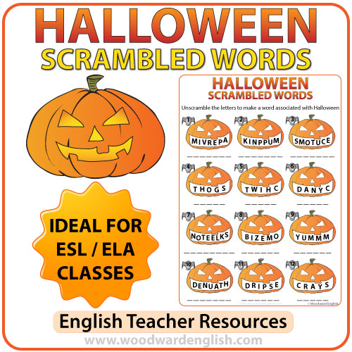 halloween scrambled words in english worksheet