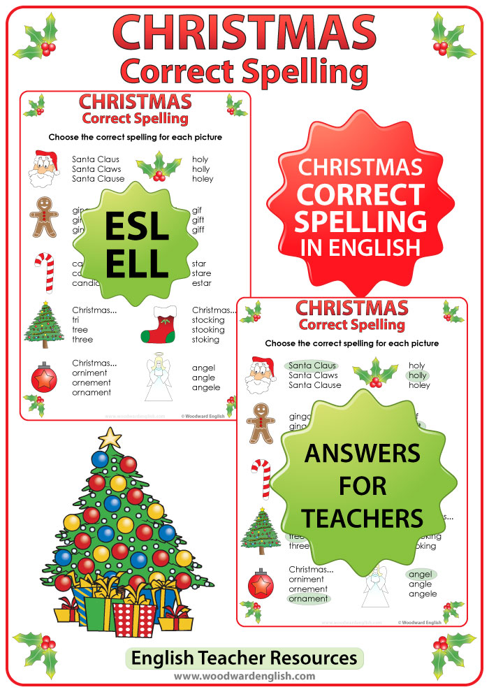 English spelling worksheet with vocabulary about Christmas.