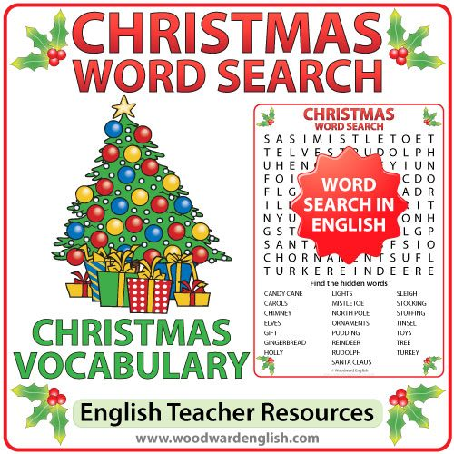 Word Search in English with 22 Christmas-themed words as clues. This word search is ideal for ESL classrooms.