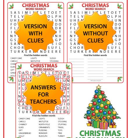 English Word Search with Christmas vocabulary. This word search is ideal for ESL classrooms.