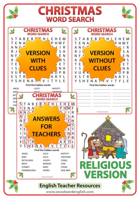 Christmas Word Search - Religious Vocabulary Version.