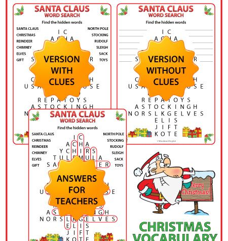 Santa Claus word search in English.