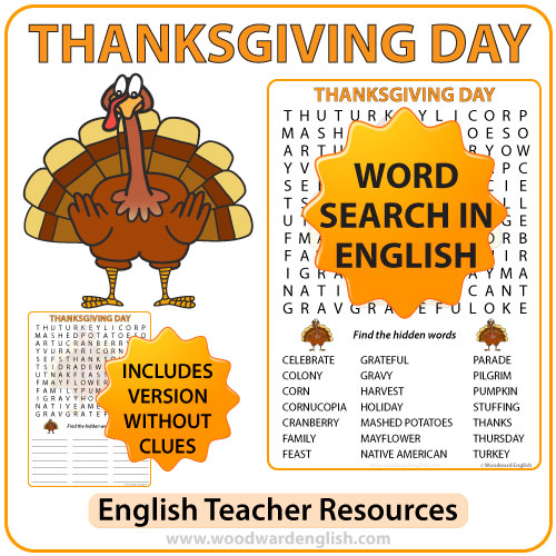 Thanksgiving Day Word Search in English.