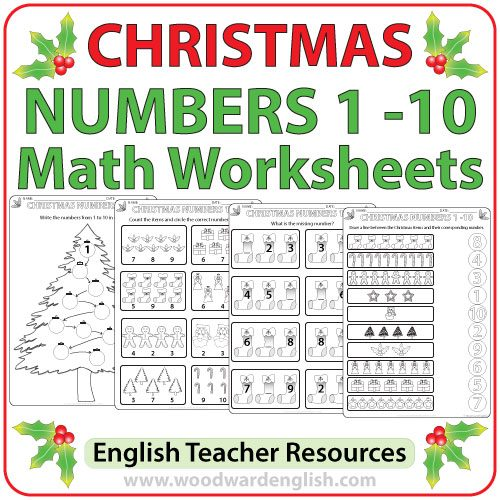 Math worksheets using a Christmas theme to help learn the numbers from 1 to 10 in English.