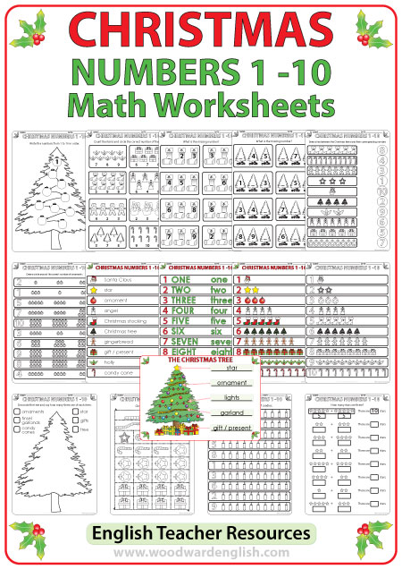 Christmas Math worksheets to help learn the numbers from 1 to 10 in English.