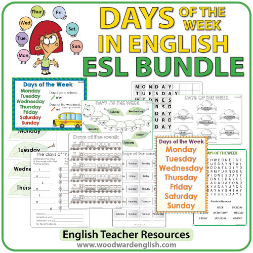 English Days of the Week - ESL/ELL bundle of activities and worksheets