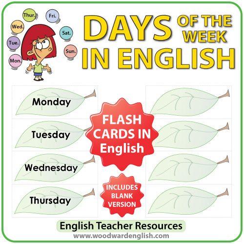 English Days of the Week - Flash Cards with a leaf design. ESL/ELL Teacher Resource.
