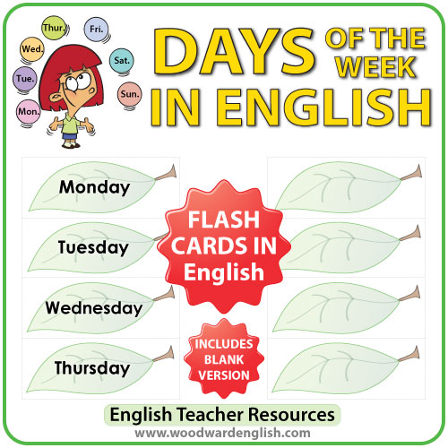 English Days of the Week - Flash Cards with a leaf design. ESL/ELL Teacher Resource.