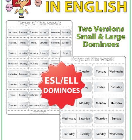 Days of the Week in English Dominoes - ESL/ELL Teacher Resource