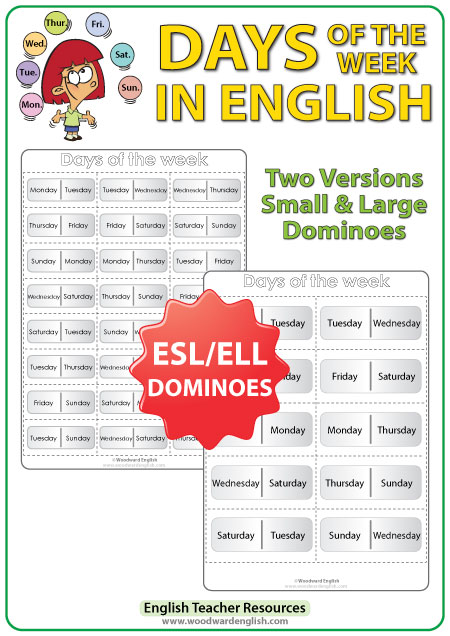 Days of the Week in English Dominoes - ESL/ELL Teacher Resource
