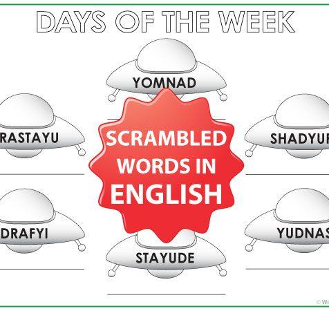 English Days of the Week - ESL / ELL Worksheet - UFOs