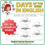 Days of the Week in English - ESL / ELL Worksheet - UFOs