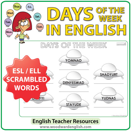 Days of the Week in English - ESL / ELL Worksheet - UFOs