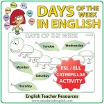 Days of the Week in English - Caterpillar Worksheet - ESL/ELL Teacher Resources