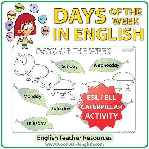 Days of the Week in English - Caterpillar Worksheet - ESL/ELL Teacher Resources