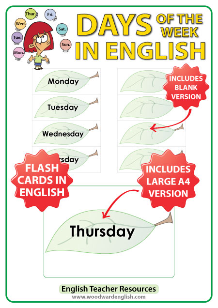 Days of the Week - English Flash Cards with a leaf design. ESL/ELL Teacher Resource.