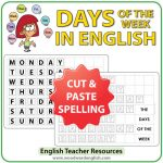 Days of the Week in English - Cut and Paste Spelling Activity ESL/ELL Teacher Resource