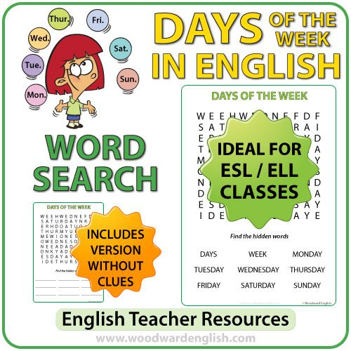 Word Search in English containing the days of the week.