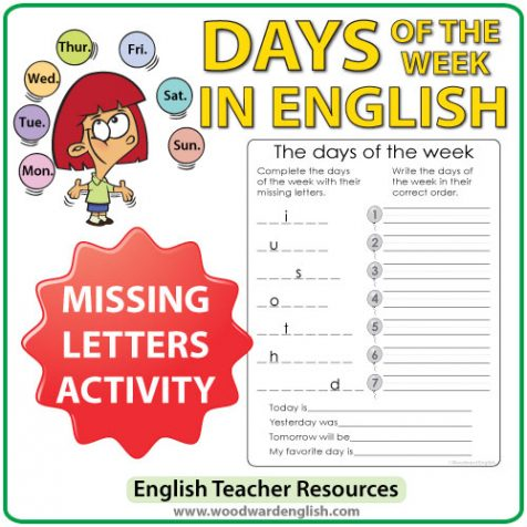 English Days of the Week - Missing Letters and Order Activity