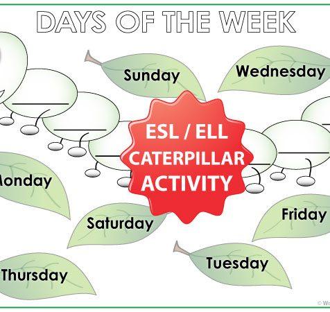 Days of the Week in English - Caterpillar Activity - ESL/ELL Teacher Resources